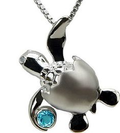 Artistica First Born Baby Turtle Pendant with Blue Topez and Diamond