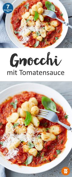 Gnocchi with tomato sauce, vegetarian, main course & Weight Watchers The post Gnocchi with tomato sauce appeared first on Food Monster. Pasta Recipes, Diet Recipes, Vegetarian Recipes, Chicken Recipes, Healthy Recipes, Healthy Chicken, Vegetarian Cooking, Salmon Recipes, Weight Watchers Pasta
