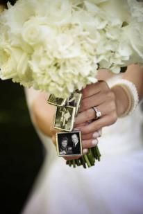 Photos of absent loved ones incorporated into your bouquet♥