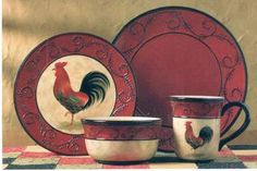 The Country Porch features the ceramic pottery dinnerware collections by Park Designs. Rooster Kitchen Decor, Rooster Decor, Home Decor Kitchen, Country Kitchen, Countryside Kitchen, Rooster Plates, Red Kitchen, Kitchen Dishes, Kitchen Stuff