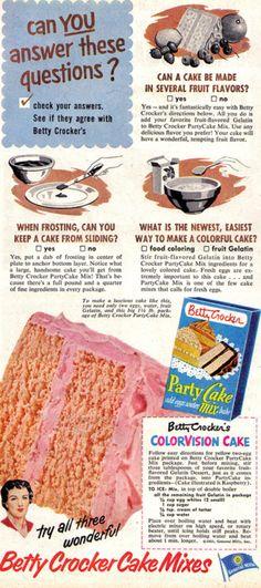 Betty Crocker cake mix ad-1952