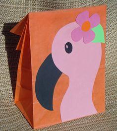 Flamingo Treat Sacks - Tropical LUAU Zoo Beach Theme Birthday Party Goody Bags by jettabees on Etsy. $15.00, via Etsy.