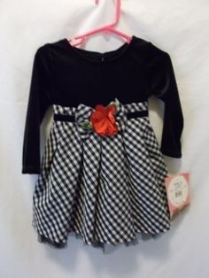 Youngland Girls 18 Months Black Plaid Dress with Red Accent Flower NWT $50 #Youngland #Dressy