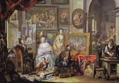 PLATZER, Johann Georg (b. 1704, St Paul in Eppan, d. 1761, St Michael in Eppan)   Click! The Artist's Studio  - Oil on copper, 42 x 60 cm Museum of Art, Cleveland  The man at centre - an idealized portrait of the artist - shows off a Bacchanal to a connoisseur. The art on the walls are allegories of the five senses: the floral still-life represents smell; the lutenist and singer sound; and the woman feeding fruit to a parrot taste. For touch, Platzer reinterprets Aesop's fable The Satyr and…