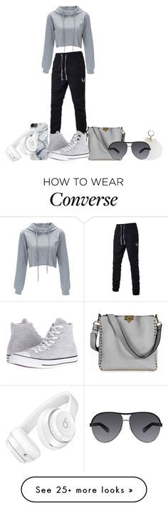 """""""Furry Keychain"""" by marialoveswednesdays on Polyvore featuring Valentino, Beats by Dr. Dre, Converse and Marc Jacobs"""