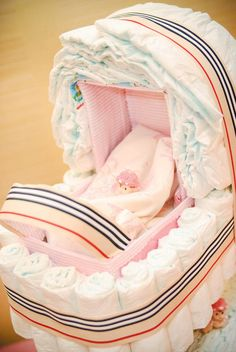 {Pink & Plaid} Burberry Inspired Baby Shower with an amazing stroller shaped DIAPER CAKE!