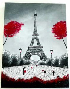 Parigi. Autrice Lisa Messina. Acrilico su tela. 30x40