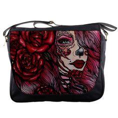 "Womens Day of the Dead Pink with red roses "" Stargazer "" Messenger Bag Purse Sugar Skulls Dia De Lo Muertos Tattoo Art Lowbrow Cute"