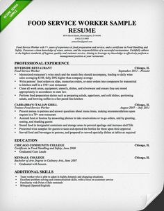 Food Service Worker Resume Template For Free Download