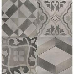 Carrelage effet carreaux de ciment noir et blanc