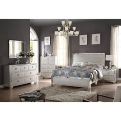 5 pc voeville iii collection platinum finish wood queen bedroom set... ($1,050) ❤ liked on Polyvore featuring home, furniture, cal king bedroom sets, timber furniture, wooden furniture, platinum bedroom set and california king bed furniture