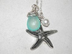 Sterling Silver Starfish Necklace with Pearl by sassybrassjewelry, $29.95