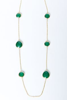 Faceted Emerald Chain Necklace