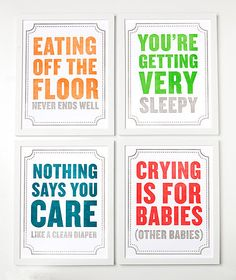 Funny baby messages, perfect for a nursery