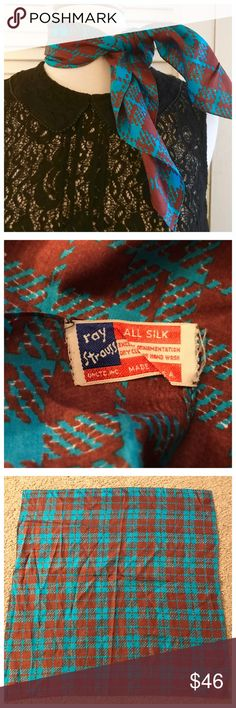 """Ray Strauss Vintage Silk Scarf!!! 1970's Ray Strauss Vintage Silk Scarf!!! 1970's  This scarf was designed in the 70's by Ray Strauss. Love the label!  100% Silk  Excellent condition  Measures approx 21"""" x 21"""" Ray Strauss Accessories Scarves & Wraps"""