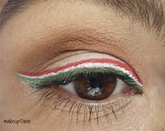 Hungarian flag makeup look red-white-green liner MakeupDorie