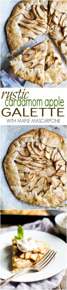 This Rustic Cardamom Apple Galette topped with a Maple Mascarpone is the thing pie dreams are made of. It's easy to make, mind blowing in flavor, and Gluten Free .. you'll fall in love! | joyfulhealthyeats.com