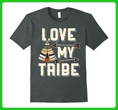 Mens Love My Tribe TeePee Arrows Native Family Friends T Shirt Large Dark Heather - Relatives and family shirts (*Amazon Partner-Link)