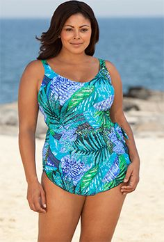 f9cf16b0f1381 Maxine Blue Exotic Journey Plus Size Sarong Front Swimsuit -  swimsuitsforall Plus Size Swimwear