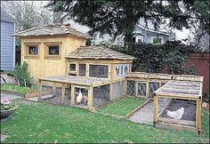 """This seven-part poultry compound near Seattle features a ""chicken tractor,"" a wire enclosure alternated between raised beds so hens can weed and fertilize multiple planting areas. Built by Ray Nichol and his 12-year-old daughter Robin as a summer project. Even though they used cedar, a building material evocative of Northwest architecture, they designed the coop to look more like a thatched cottage in rural England or Asia."" http://seattletimes.com/pacificnw/2002/0120/cover.html"