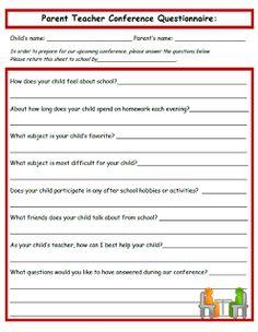 Send home before conferences- great idea! Parent Teacher Conference Questionnaire