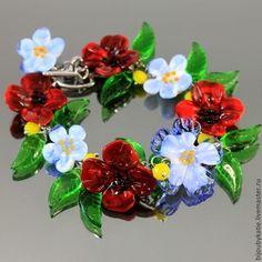#Bracelet #lampwork #glass #artisan #Flower #bangle #braceletlampwork