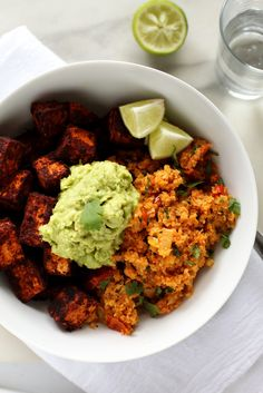 Spicy Cauliflower Rice, Cinnamon-Paprika Sweet Potatoes & Avocado Mash   A quick, easy, and delicious vegan meal!