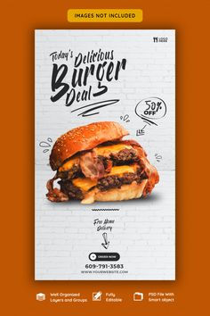 Delicious burger and food menu instagram... | Premium Psd #Freepik #psd #banner Food Graphic Design, Food Menu Design, Food Poster Design, Restaurant Menu Design, Creative Poster Design, Cafeteria Menu, Bio Food, Menu Flyer, Food Banner