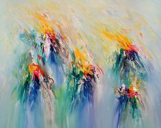 """Modern art by Peter Nottrott: painting. Hot Spots M 4  Abstract acrylic painting on canvas  Size of this vibrant abstract painting: 39.4 """"w x 31.5 """"h x 1.5 """"d"""
