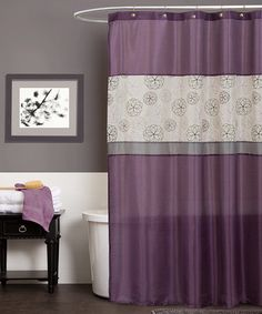 Purple shower curtain by lush decor in products purple bathrooms purple bathroom accessories shower curtains lush . Dark Purple Bathroom, Purple Bathroom Accessories, Gray Bathroom Decor, Purple Bathrooms, Bathroom Curtains, Fabric Shower Curtains, Bathroom Sets, Master Bathroom, Bathroom Designs