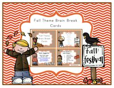 Fall Theme Brain Break Cards from Preschool Printables on TeachersNotebook.com - (6 pages) - The benefits of brain breaks… 1. Improve focus 2. Motivate students 3. Re-energize students for learning 4. Rainy day & indoor fun 5. Just plain fun