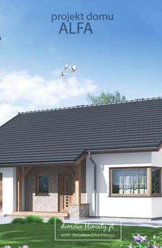 """Alfa"" to projekt małego domu parterowego. Prosta bryła i dach gwarantują niskie… Remodeling Ideas, Houses, Outdoor Decor, Home Decor, Cottage, House Design, Homes, Decoration Home, Room Decor"