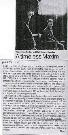 Maxim Gorky`s `Enemies`:`A Timeless Maxim` by Michael Darval. Rehearsal photograph  of Angelique Rockas who played  the part of Tatiana .  https://www.flickr.com/photos/internationalist_theatre_rockas/albums/72157628016069293  https://flic.kr/p/aF9VTk | https://en.wikipedia.org/wiki/Internationalist_Theatre