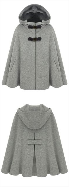 Oh my gosh I want | Women's Winter Wool Blend Hooded Cape Cloak Coat