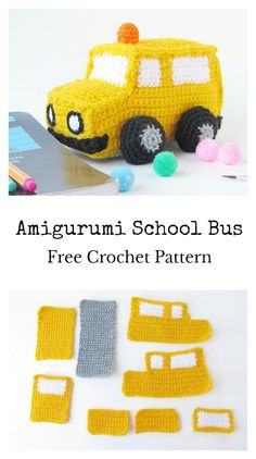 Amigurumi School Bus Soft Toy Free Crochet Pattern #freecrochetpatterns #amigurumitoy
