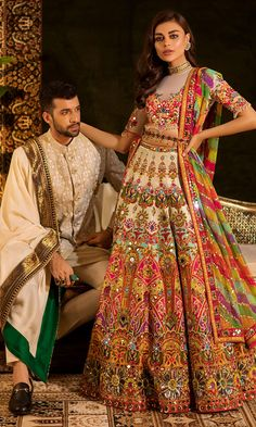 Bridal lehenga Store strongly believes that the ultimate empowerment is to wear something incredibly simple! Also, worldwide shipping is available. Indian Gowns Dresses, Indian Fashion Dresses, Dress Indian Style, Indian Designer Outfits, Wedding Lehenga Designs, Designer Bridal Lehenga, Bridal Lehenga Choli, Lehenga Choli Designs, Couple Wedding Dress