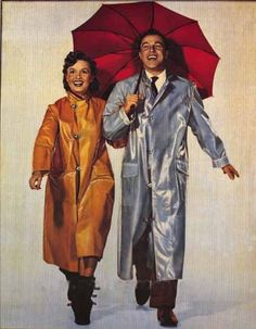 Debbie Reynolds and Gene Kelly, promotional art for 'Singin' in the Rain.'……..ONE OF THE BEST MOVIES OF ALL TIMES.   ………ccp