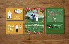 Custom Illustrated Wedding Invitations by chicksnhens on Etsy, $150.00