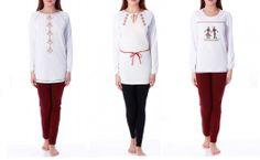 Pijamale facute in Romania de compania Sofiaman. Colectia 2013, cu imprimeuri inspirate de cusaturile de pe ii. Blouse, Long Sleeve, Sleeves, Inspiration, Tops, Women, Fashion, Biblical Inspiration, Moda
