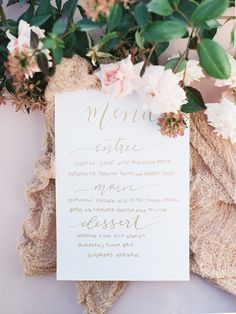 Calligraphy menu by Calligraphy: Floralovely  | Romantic Pink and Gold Seaside Inspiration from Whitney Heard Photography