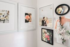 She's filled the walls of the dining room/meeting space with photos of past clients.