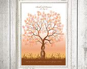 whimsical wedding tree fingerprint guestbook - printable file. $20.00, via Etsy. Guests leave a finger print to act as a leaf on your tree