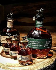Look! It's mommy and daddy Blantons and the baby Blantons! Pic and Whisky courtesy of - Round new addition to the Blantons family . Whiskey Girl, Good Whiskey, Cigars And Whiskey, Scotch Whiskey, Rye Whiskey, Blanton's Bourbon, Bourbon Barrel, Fun Drinks, Yummy Drinks
