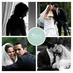 Carte de remerciement de mariage (wedding thank you card) : Classique 4 photos - by Sibylle Derkenne pour http://www.fairepart.fr #mariage #wedding