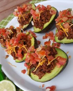 "Taco Stuffed Avocados aka ""Avo-Tacos"" (omit cheese for Whole Whole 30 Recipes, Clean Recipes, Paleo Recipes, Mexican Food Recipes, Low Carb Recipes, Cooking Recipes, Whole 30 Snacks, Clean Foods, Healthy Snacks"