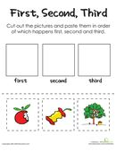 Cut out these cards and challenge your child to create a logical sequence of events to describe how an apple makes it from the tree to the table.
