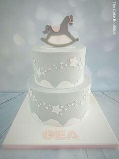 Star theme, rocking horse baby shower cake. Twinkle Twinkle little star cake [www.facebook.com/cakeboutiquenicosia]