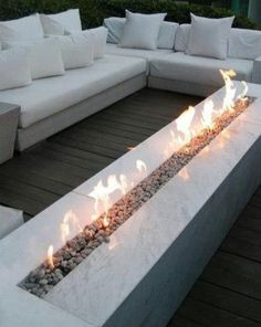 linear fireplace low outdoor - Google Search