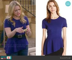 Mel's blue asymmetric peplum top on Melissa and Joey.  Outfit Details: http://wornontv.net/50193/ #MelissaandJoey