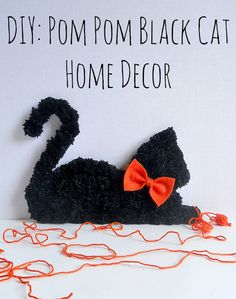 Are you tried of scary Halloween projects? Then break out your pom-pom maker and create this fancy black cat home décor project!